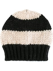 Danielapi Striped Knit Beanie Nude And Neutrals