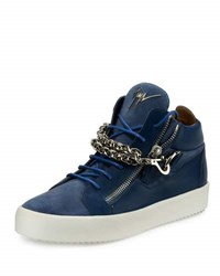 Giuseppe Zanotti Men's Suede And Leather Mid Top Sneaker W Chain Link Strap Blue