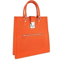 L.A.P.A. Front Zip Calf Leather Large Tote Handbag Coral