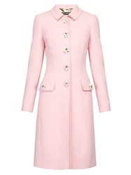 Dolce And Gabbana Flower Embellished Single Breasted Wool Crepe Coat Pink