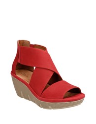 Clarks Clarene Glamor Leather Wedge Sandals Red