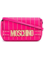 Moschino Studded Letters Crossbody Bag Pink Purple