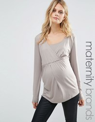 Mama Licious Mamalicious Nursing Long Sleeve Jersey Top Grey