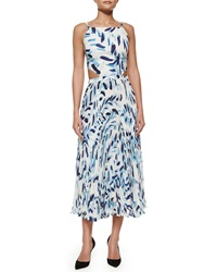 Elle Sasson Mara Brush Print Pleated Cutout Dress