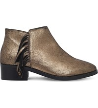 Kg By Kurt Geiger Shimmy Metallic Leather Ankle Boots Gold