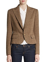 Ralph Lauren Turner Lux Herringbone Cashmere Jacket Brown
