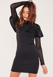 Missguided Black Mesh Frill Front Bodycon Dress