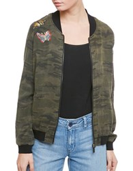 Sanctuary Embroidered Camo Bomber Jacket Camo Green