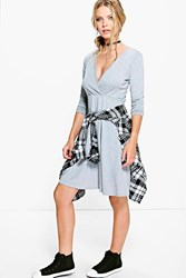 Boohoo Long Sleeve Wrap Over Skater Dress Grey