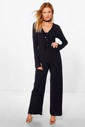Boohoo Lace Up Extra Long Sleeve Ribbed Jumpsuit Black