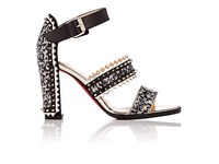 Christian Louboutin Women's Montezumina Spike Ankle Strap Sandals Black White Silver No Color