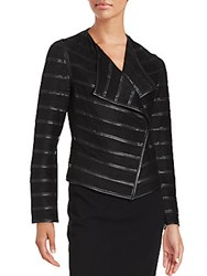Bagatelle Solid Pleather Striped Jacket Black