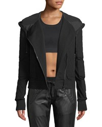 Blanc Noir French Terry Mesh Zip Front Moto Jacket Black