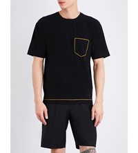 Wooyoungmi Contrast Stitch Woven T Shirt Black