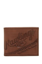 Rawlings Sports Accessories Fielder's Choice Bi Fold Leather Wallet Brown