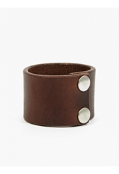 Nonnative Men's Brown Labourer Horween Leather Wide Bracelet