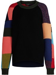 Burberry Patchwork Wool Cashmere Blend Sweater Black