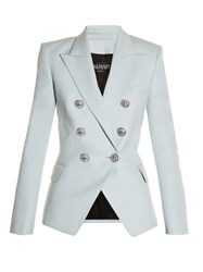 Balmain Six Button Double Breasted Wool Blazer Light Blue