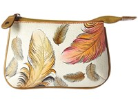 Anuschka Handbags 1107 Medium Coin Purse Floating Feathers Ivory Coin Purse White