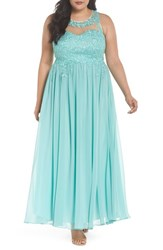 Decode 1.8 Plus Size Women's Embellished A Line Chiffon Gown Mint