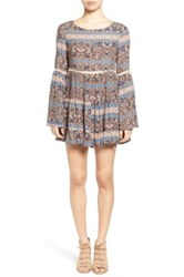 Sun And Shadow Print Crochet Inset Dress Multi
