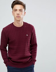 Jack Wills Marlow Cable Knit Wool Blend Nep Jumper In Burgundy Red