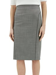 Jaeger Birdseye Piped Pencil Skirt Charcoal