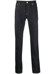 Brunello Cucinelli Contrast Stitch Straight Jeans Blue