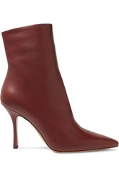 The Row Gloria Leather Ankle Boots Burgundy