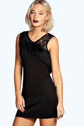 Boohoo Fringe And Lace Bodycon Dress Black