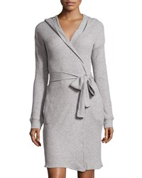 Skin Waffle Knit Hooded Robe Heather Gray Heather Grey
