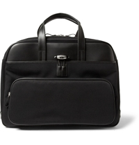 Montblanc Nightflight Leather And Canvas Holdall Bag Black