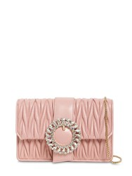 Miu Miu Bijoux Quilted Leather Clutch Pink