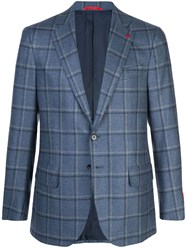 Isaia Plaid Blazer Blue
