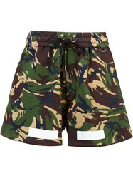 Off White Auction House Camouflage Print Shorts Green