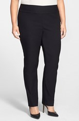 Nic Zoe Plus Size Women's 'Wonder Stretch' Straight Leg Pants Black Onyx