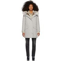 Yves Salomon Army Grey Down And Fur Cotton Parka
