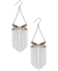 Lucky Brand Silver Tone Abalone Look Dragonfly Fringe Drop Earrings
