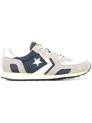 Converse Star Print Sneakers Men Leather Suede Nylon Rubber 40 Grey