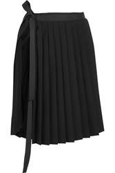 Tim Coppens Pleated Stretch Wool Wrap Skirt Black