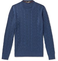 Loro Piana Cable Knit Baby Cashmere Sweater Blue