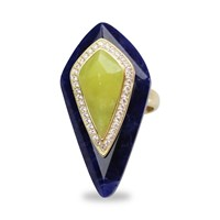 Bellus Domina Adjustable Lemon Jade Cocktail Ring Blue