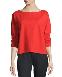Eileen Fisher Project Long Sleeve Wool Boxy Top Poppy Bright Red