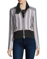 Veronica Beard Destin Tweed Jacket With Moto Dickey Cream Navy Women's Cream Navy Multi