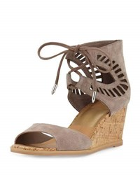 Dolce Vita Lacy Laser Cut Cork Wedge Sandal Taupe