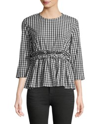 Philosophy Gingham Fit And Flare Blouse Black White