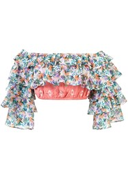 All Things Mochi Off Shoulder Leaf Cropped Top Multicolour