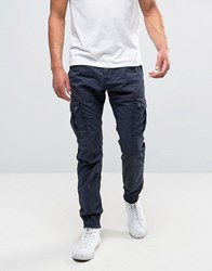 Solid Cuffed Cargo Trousers With Belt Navy