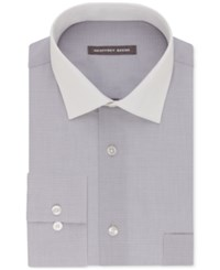 Geoffrey Beene Men's Classic Regular Fit Wrinkle Free Aloe Wash Grey Solid Dress Shirt Fog