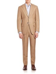 Isaia Two Button Wool Suit Brown